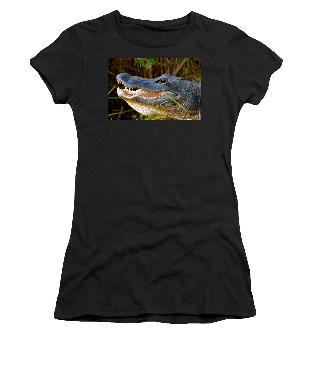 Alligator Women's T-Shirt (Athletic Fit) featuring the photograph Gator Head by David Lee Thompson