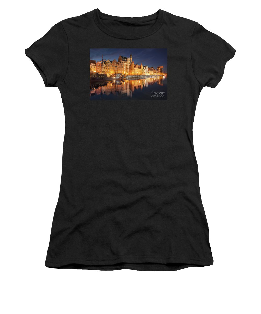Gdansk Women's T-Shirt (Athletic Fit) featuring the photograph Gdansk By Night by Marcus Lindstrom