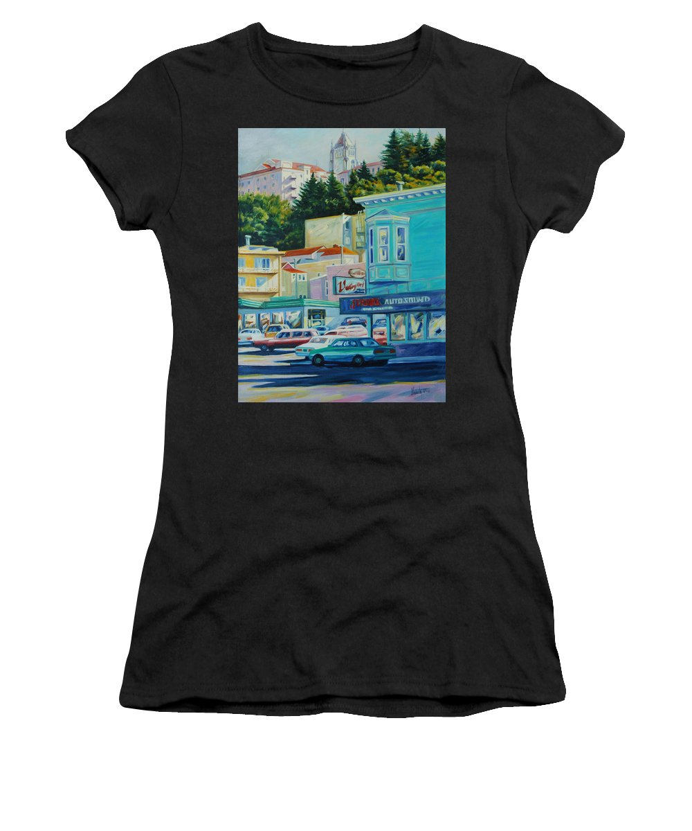 Cityscape Women's T-Shirt (Athletic Fit) featuring the painting Geary Street by Rick Nederlof