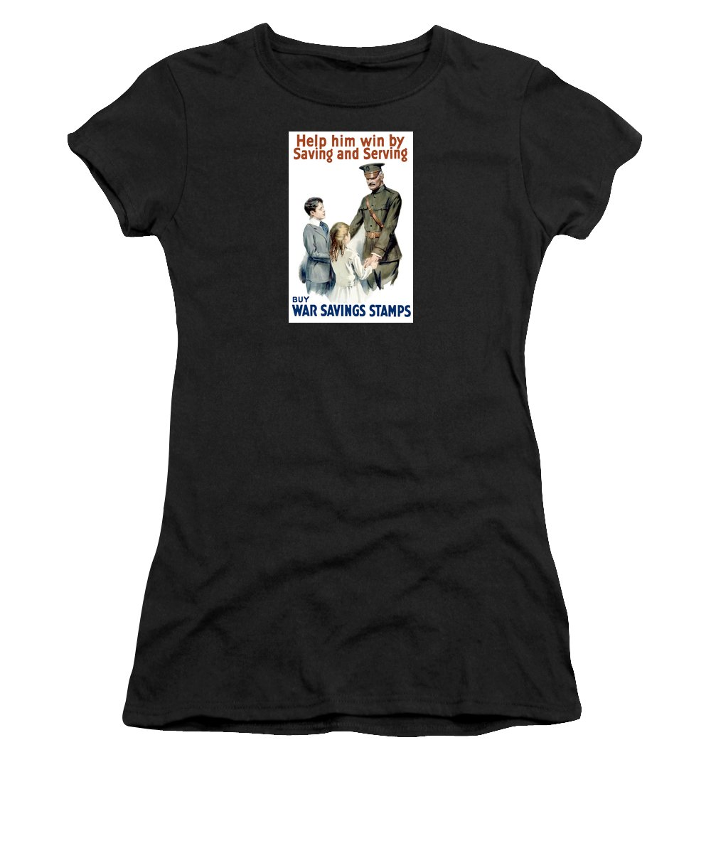General Pershing Women's T-Shirt (Athletic Fit) featuring the painting General Pershing - Buy War Saving Stamps by War Is Hell Store