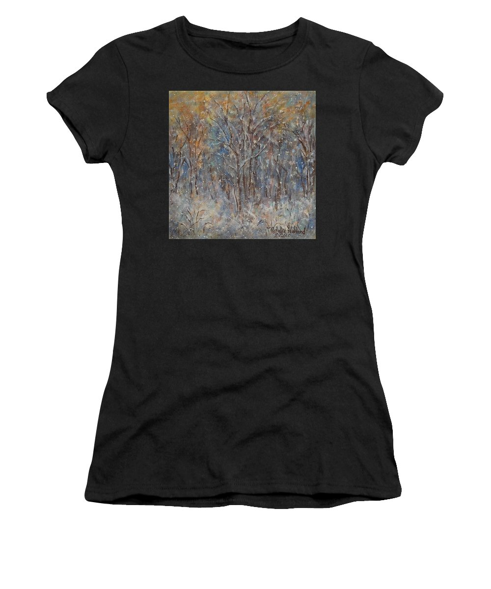 Art Around The World Project Women's T-Shirt (Athletic Fit) featuring the painting Gentle Snow by Natalie Holland