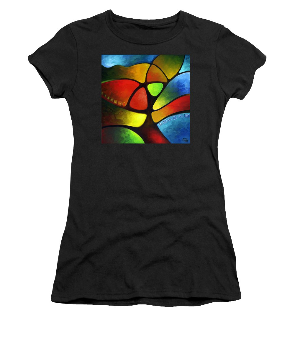 Tree Women's T-Shirt (Athletic Fit) featuring the painting Geometree by Sally Trace