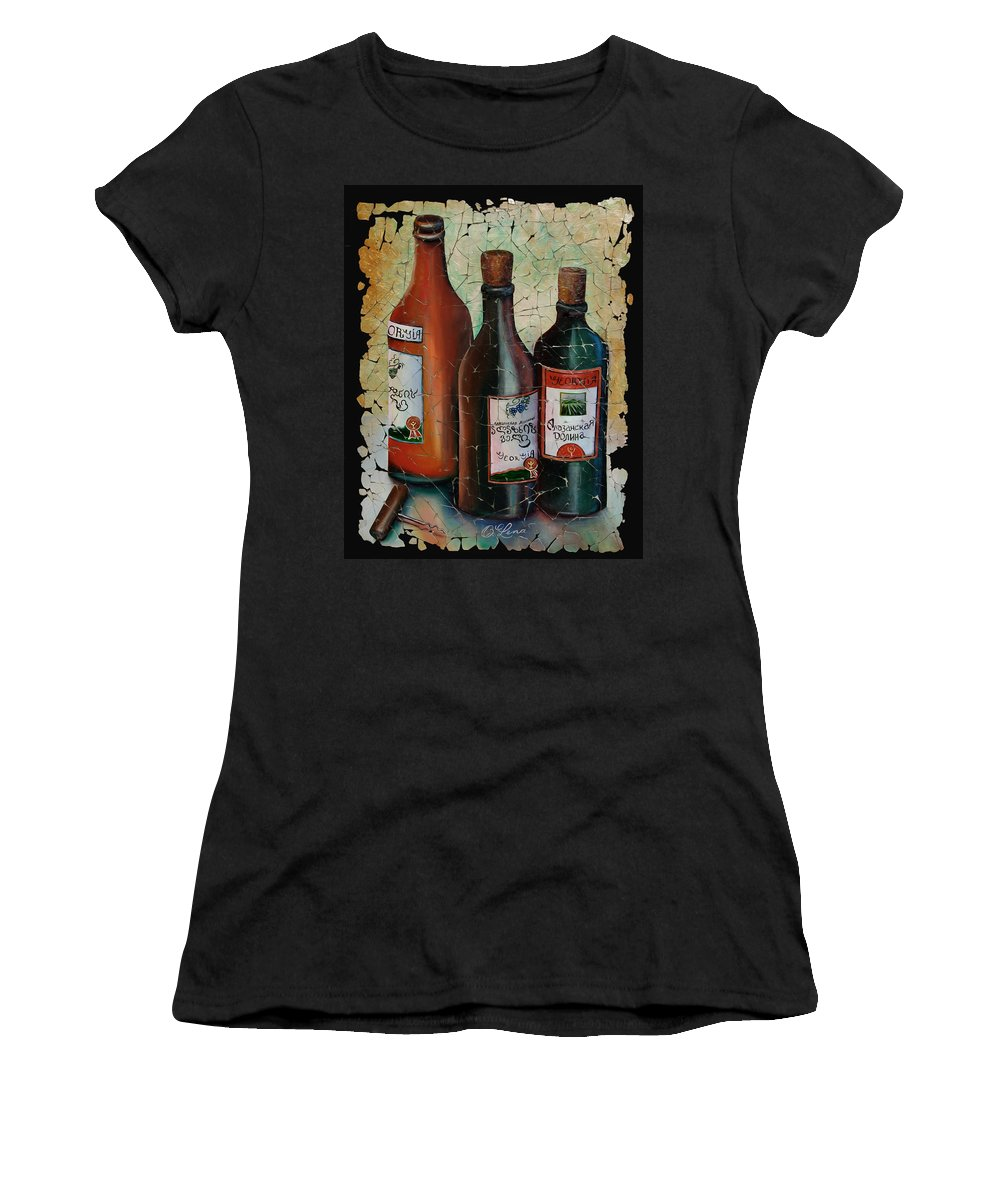 Georgian Wine Women's T-Shirt (Athletic Fit) featuring the painting Georgian Wine Fresco by OLena Art Lena Owens
