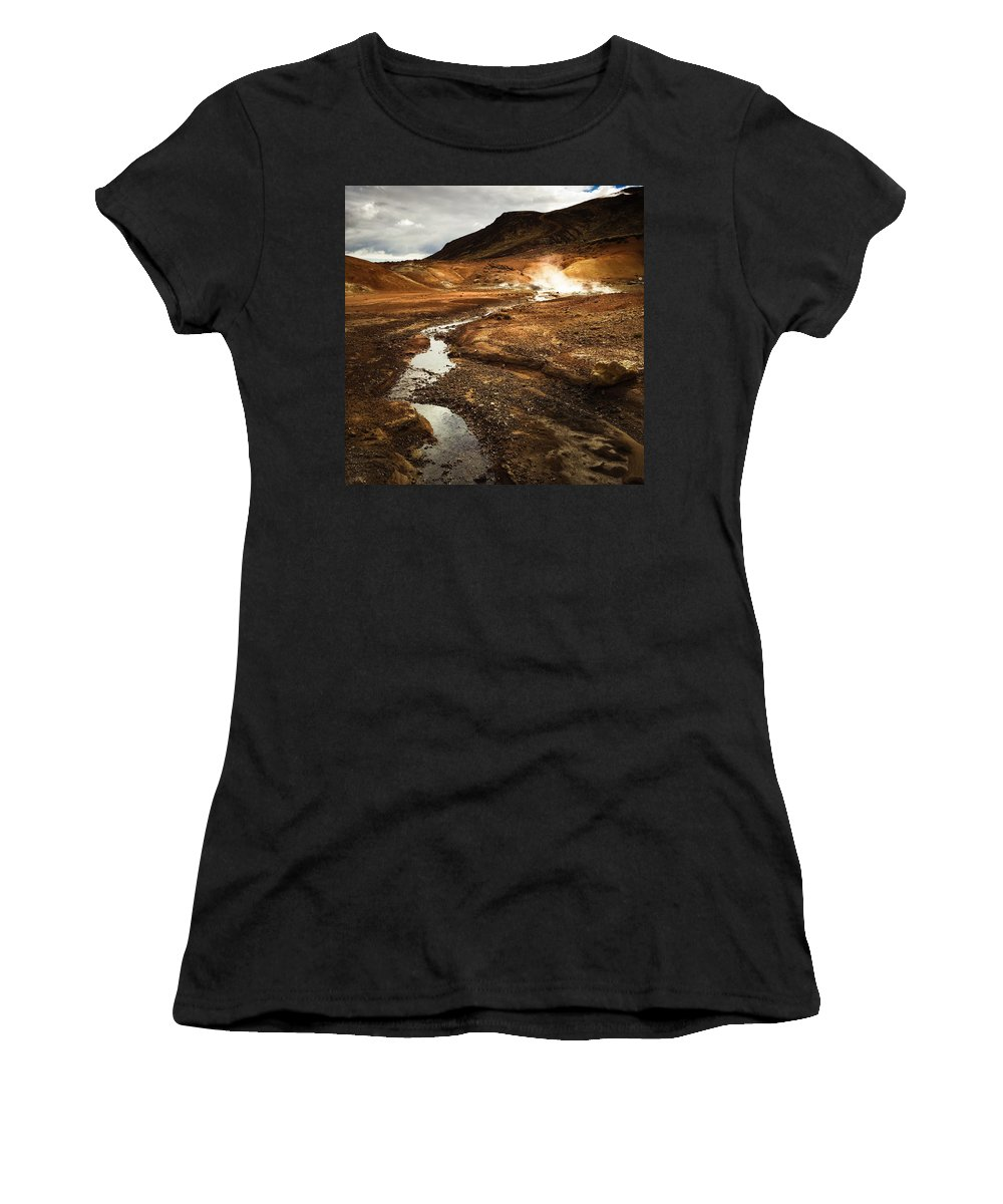 Iceland Women's T-Shirt featuring the photograph Geothermal area Krysuvik in Iceland by Matthias Hauser