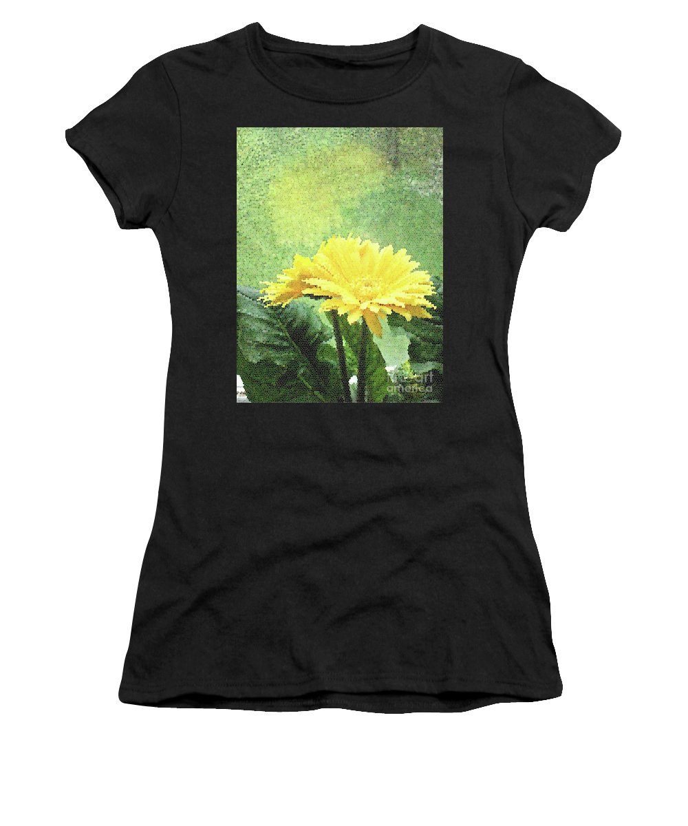 Yellow Women's T-Shirt (Athletic Fit) featuring the digital art Gerber Daisy And Reflection by Catherine Cairns-OKeefe