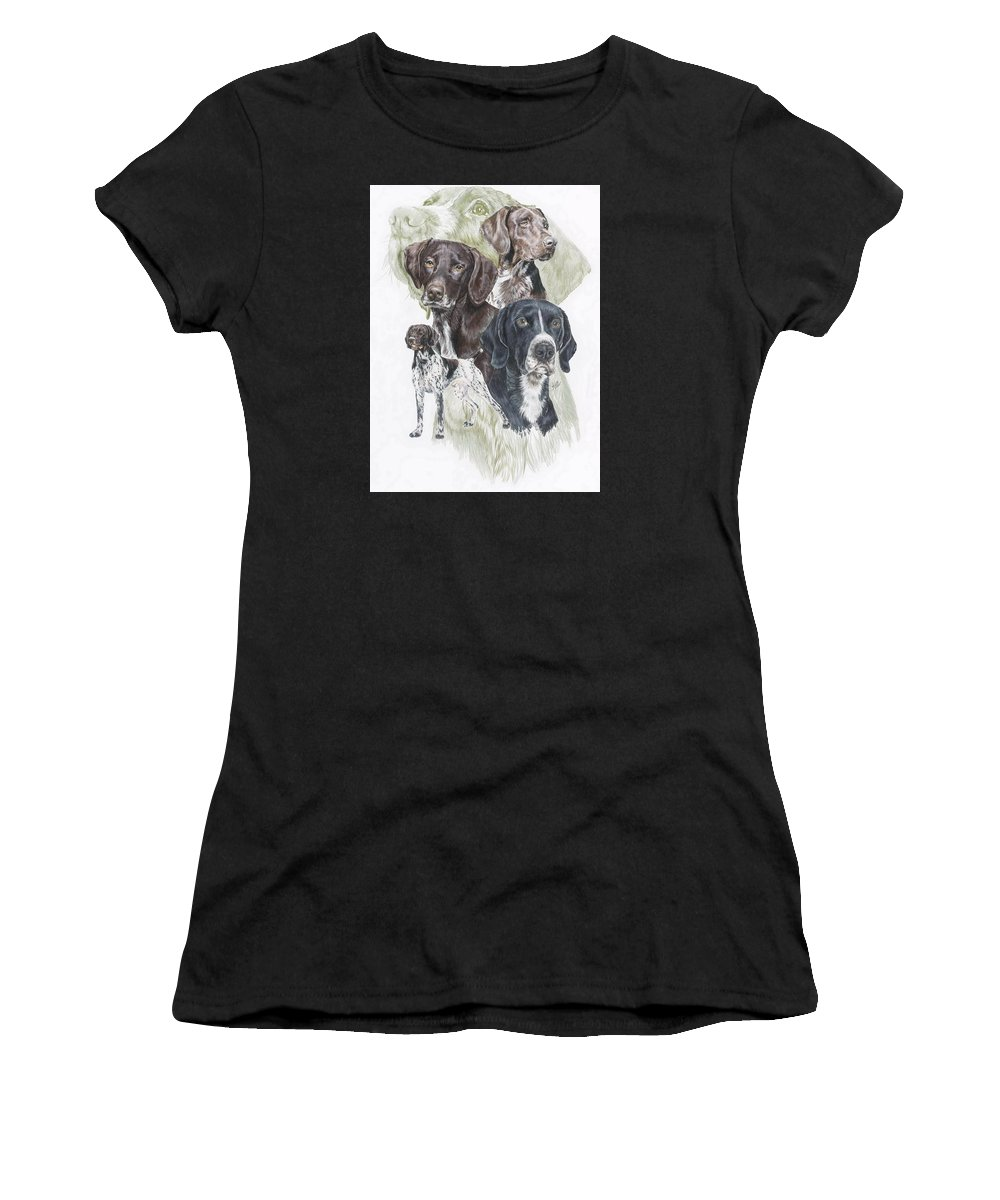 Gshp Women's T-Shirt (Athletic Fit) featuring the mixed media German Shorted-haired Pointer Revamp by Barbara Keith