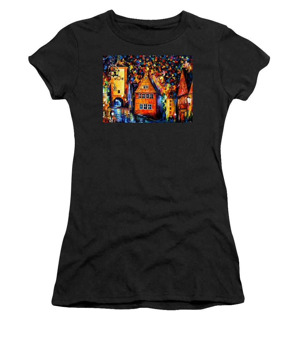 Afremov Women's T-Shirt (Athletic Fit) featuring the painting Germany - Medieval Rothenburg by Leonid Afremov