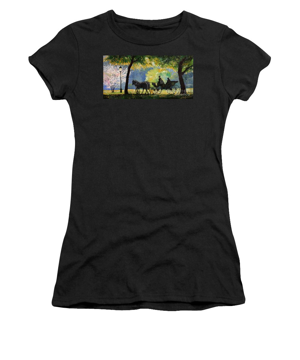 Oil Women's T-Shirt (Athletic Fit) featuring the painting Germany Baden-baden Lichtentaler Allee Spring by Yuriy Shevchuk