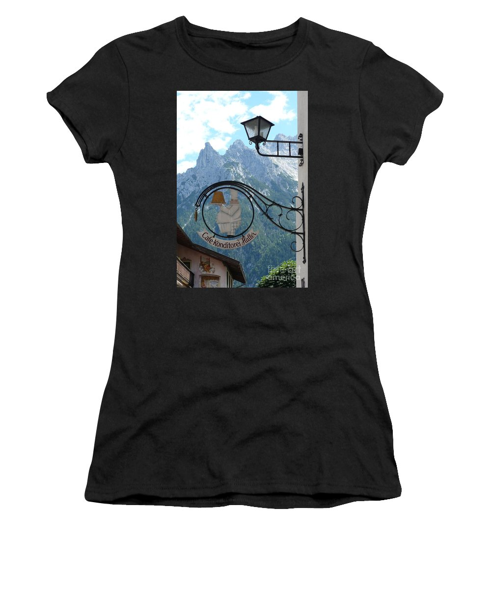 Bavarian Alps Women's T-Shirt (Athletic Fit) featuring the photograph Germany - Cafe Sign by Carol Groenen
