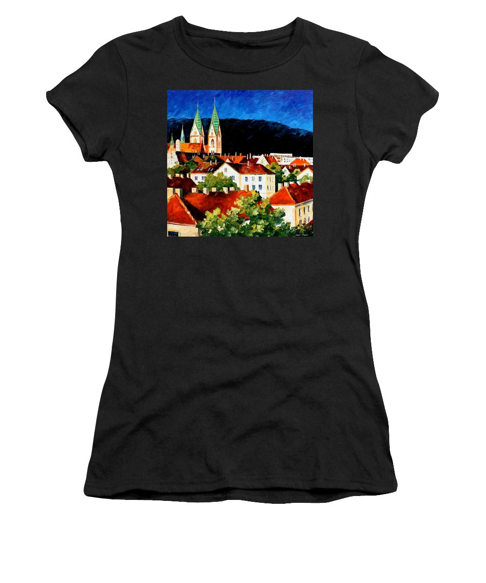 Afremov Women's T-Shirt (Athletic Fit) featuring the painting Germany Freiburg by Leonid Afremov