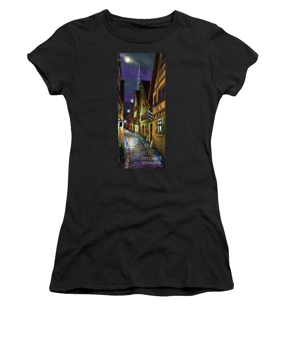 Pastel Women's T-Shirt featuring the painting Germany Ulm Old Street Night Moon by Yuriy Shevchuk
