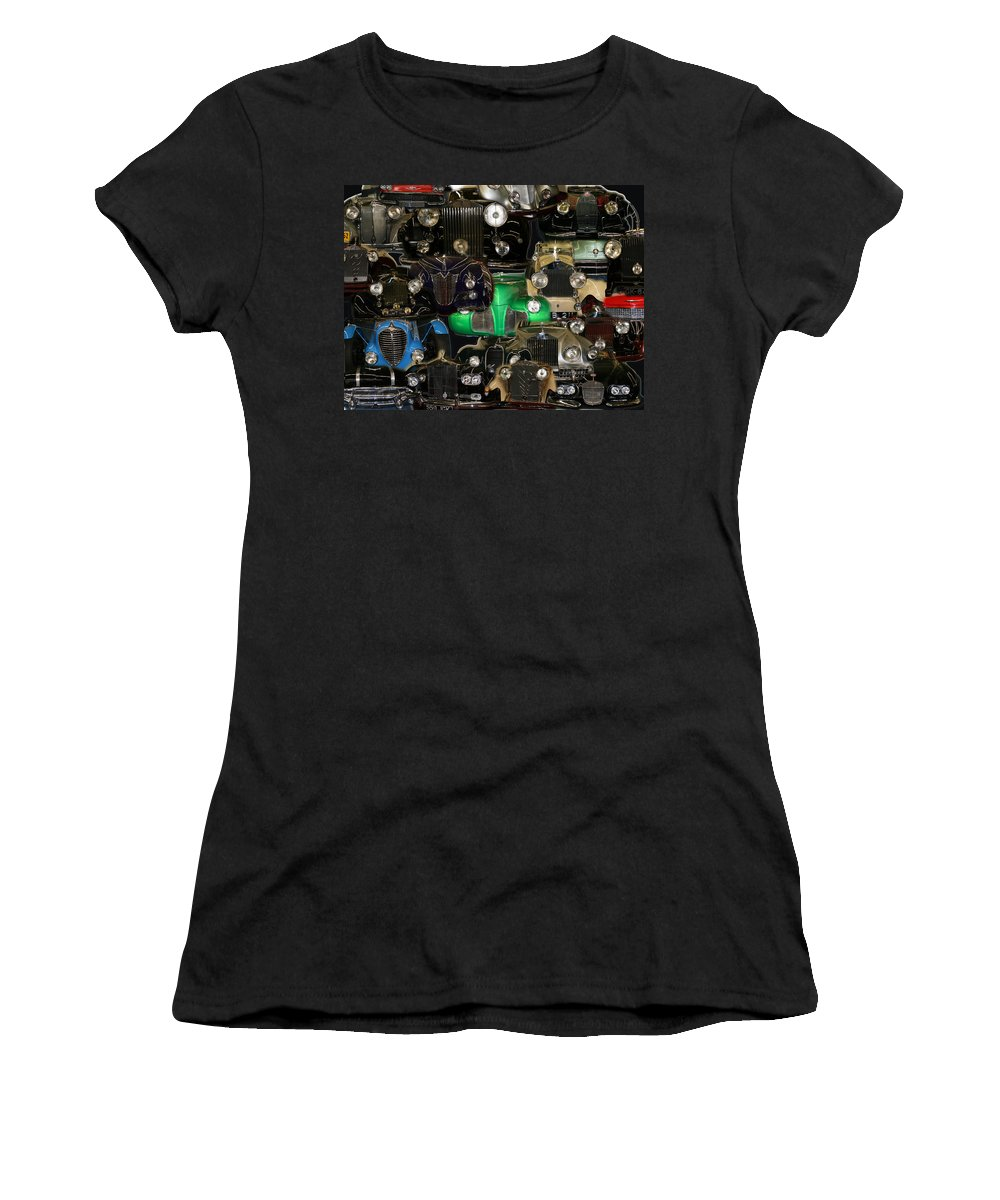 Car Grill Hood Vehicles Classic Automobile Women's T-Shirt (Athletic Fit) featuring the photograph Gettin Grilled by Andrea Lawrence