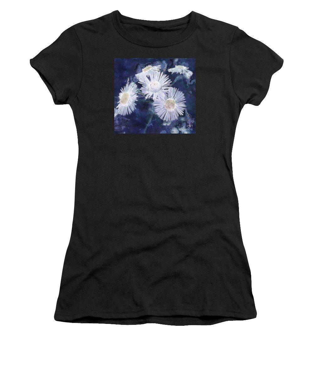 Asters Women's T-Shirt (Athletic Fit) featuring the painting Ghost Flowers by RC DeWinter