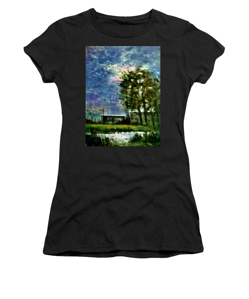 Landscape Women's T-Shirt (Athletic Fit) featuring the painting Ghost Town.. by Cristina Mihailescu