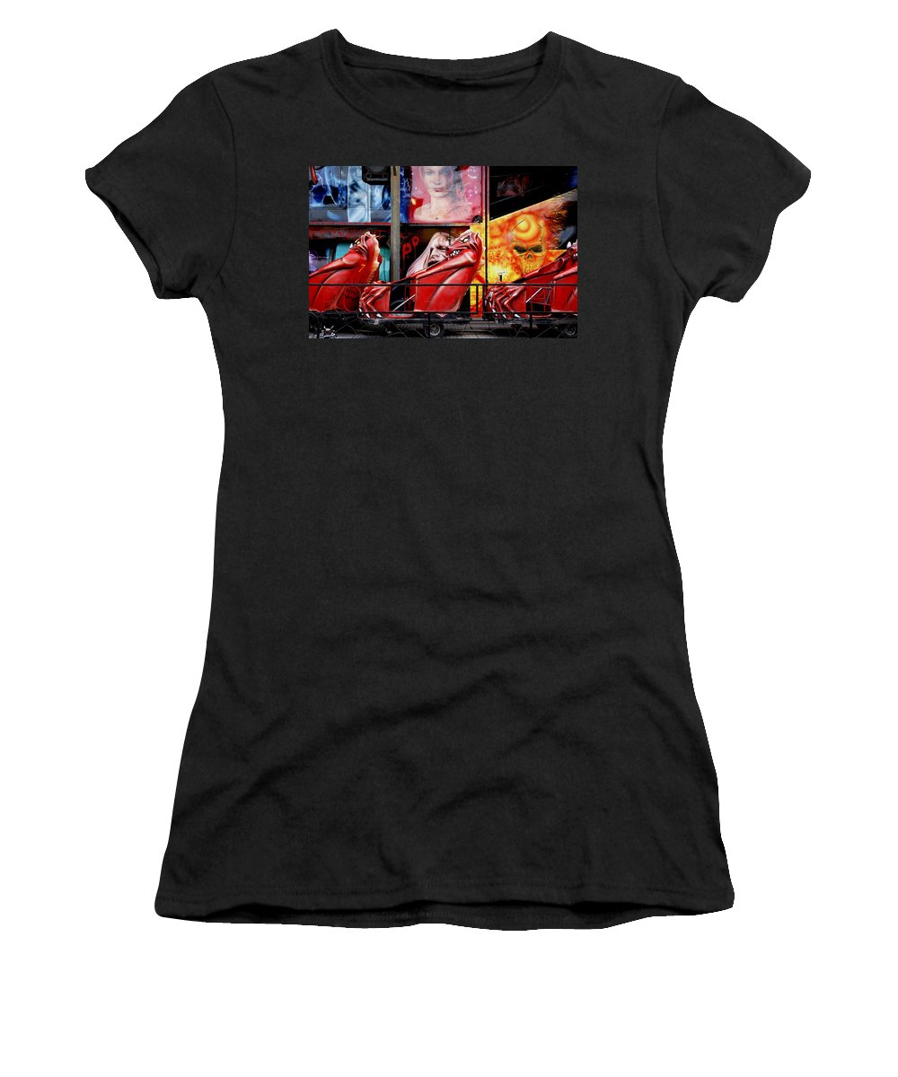 Ghost-train Women's T-Shirt (Athletic Fit) featuring the photograph Ghost Train by Wayne Sherriff
