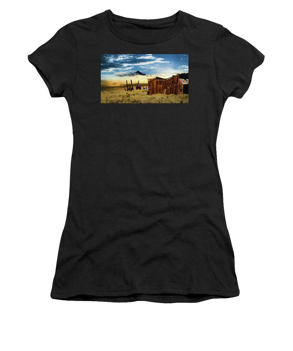 Ghost Town Women's T-Shirt (Athletic Fit) featuring the painting Ghostly Town 2 by Mike Penney