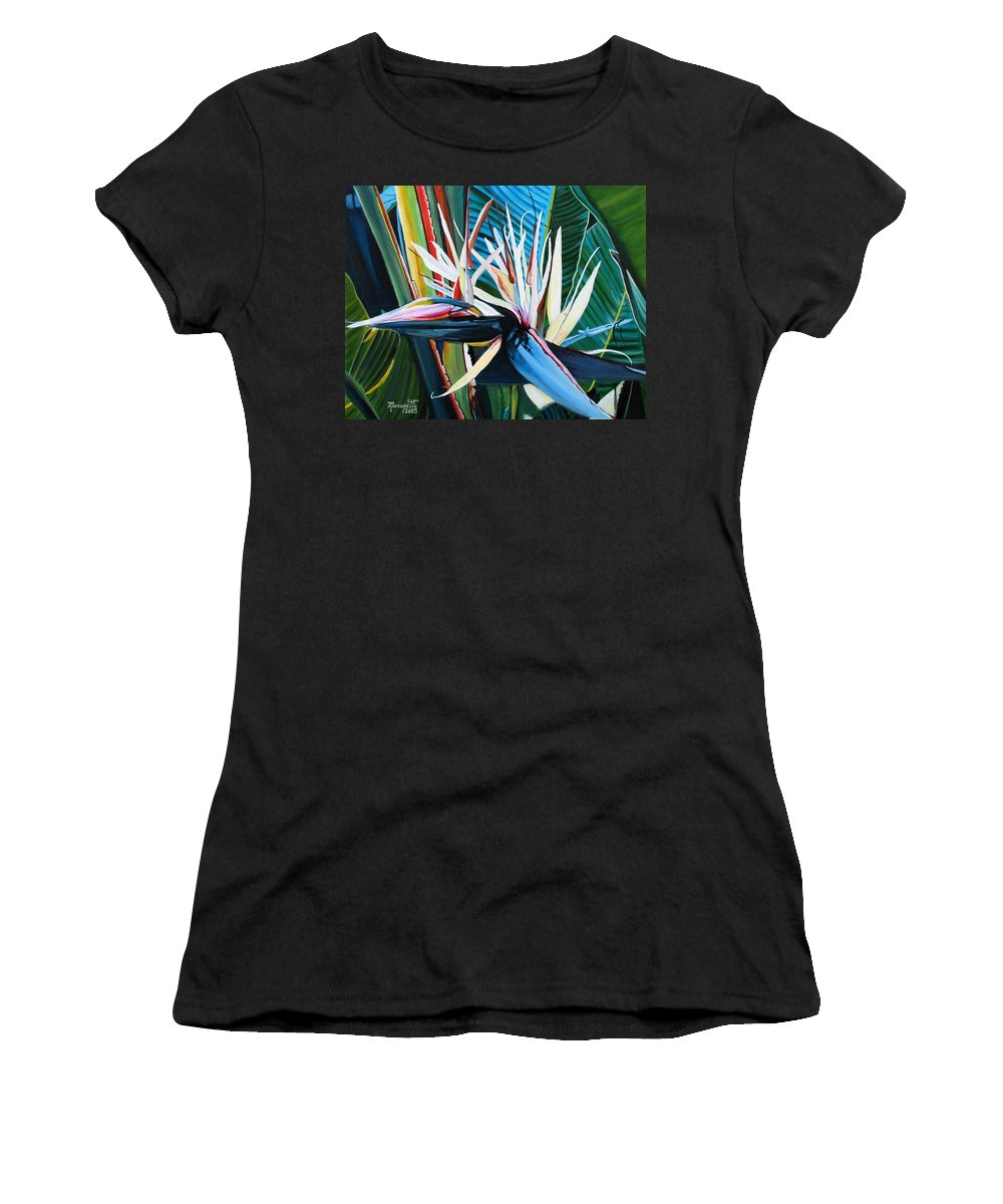 Bird Women's T-Shirt (Athletic Fit) featuring the painting Giant Bird Of Paradise by Marionette Taboniar