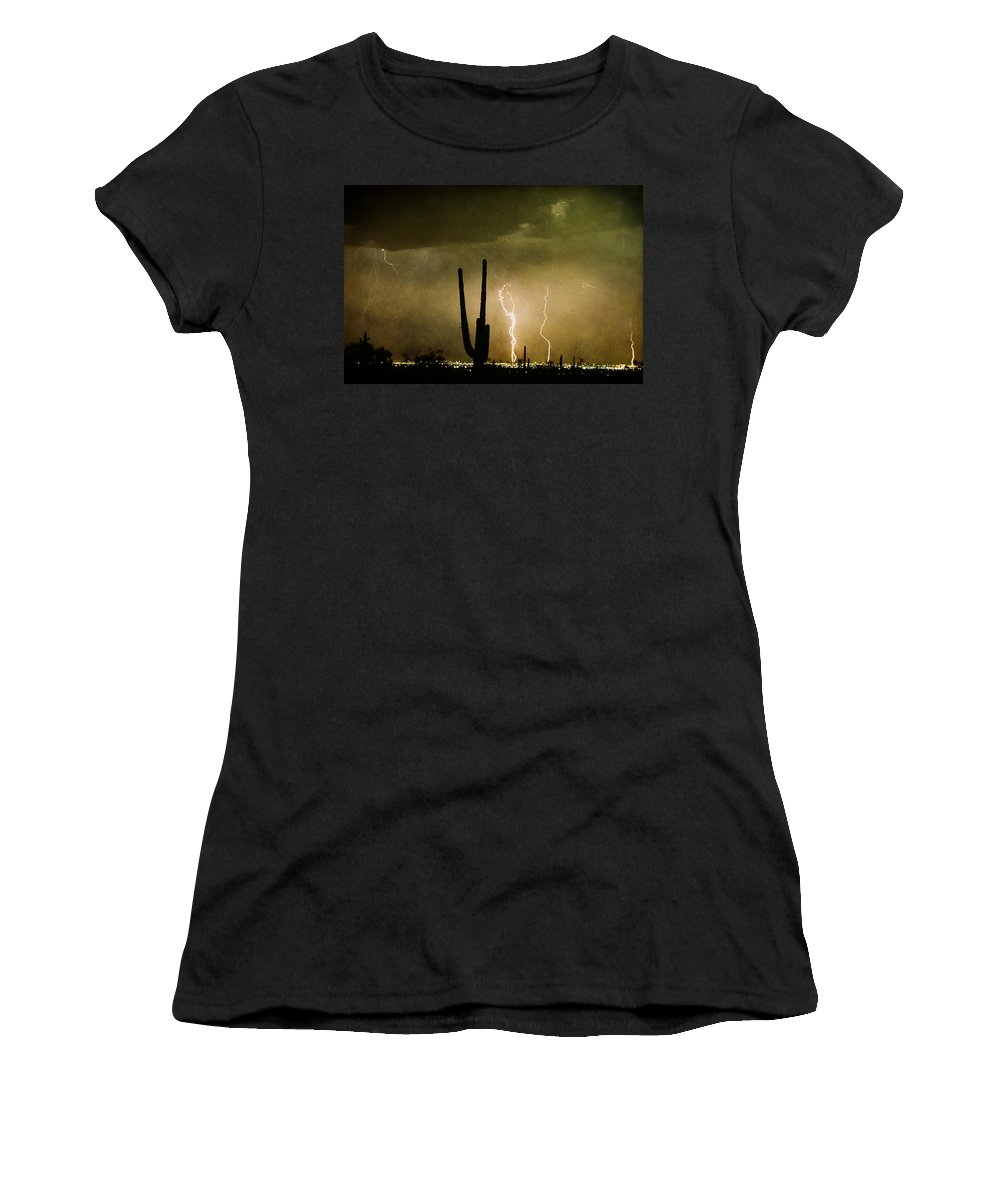 Lightning Women's T-Shirt (Athletic Fit) featuring the photograph Giant Saguaro Southwest Lightning Peace Out by James BO Insogna