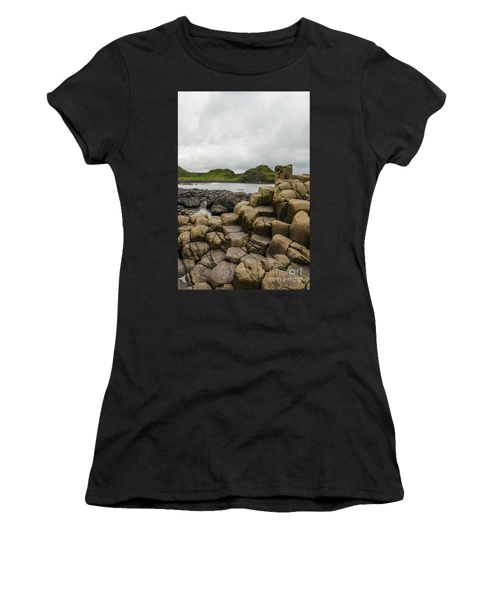 Landscape Women's T-Shirt (Athletic Fit) featuring the photograph Giant's Causeway by Elvis Vaughn