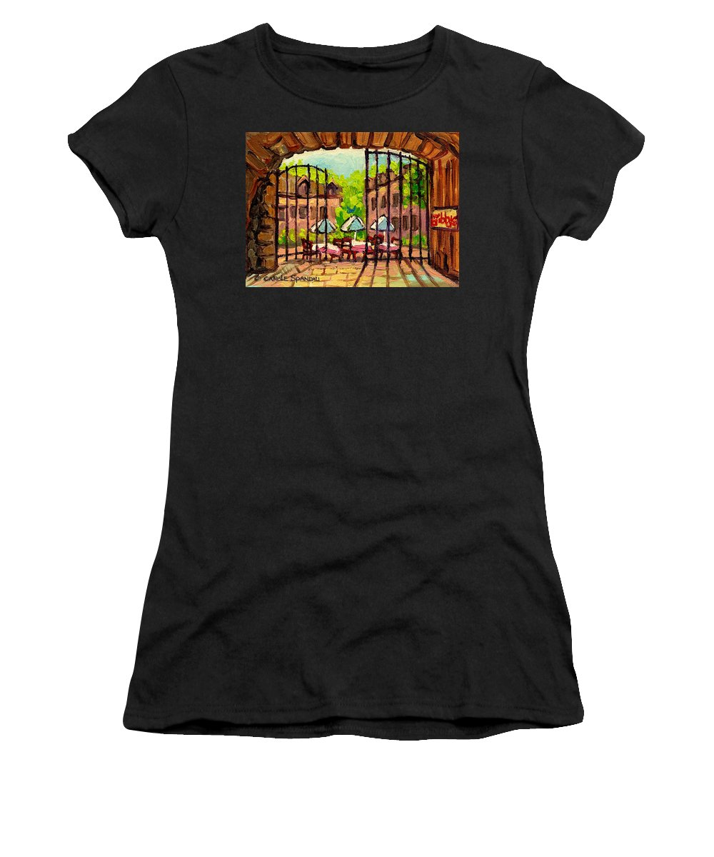 Gibbys Women's T-Shirt featuring the painting Gibbys Restaurant In Old Montreal by Carole Spandau