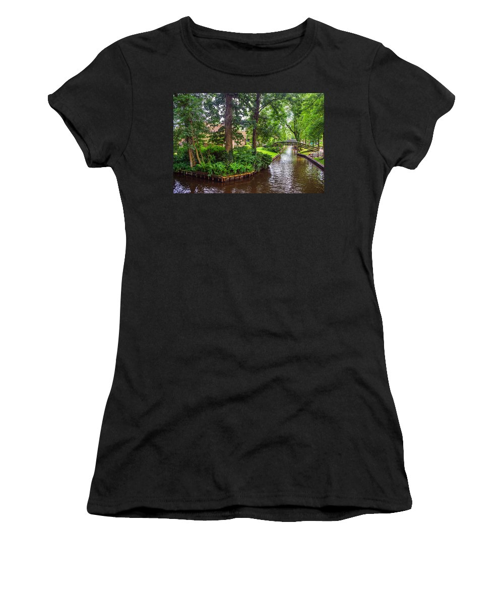 Netherlands Women's T-Shirt featuring the photograph Giethoorn Greenery And Bridges. Venice Of The North by Jenny Rainbow