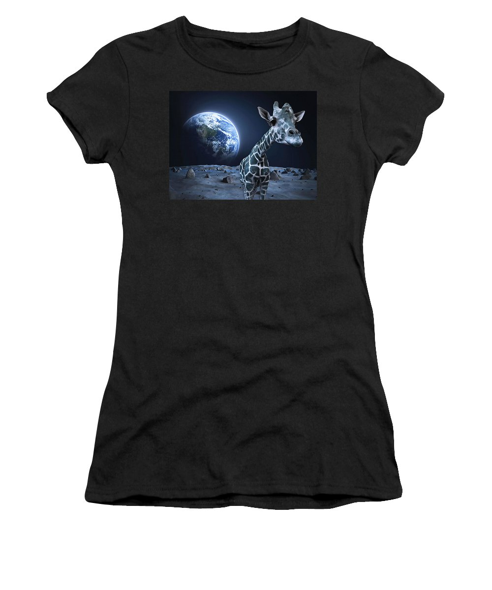 Moon Women's T-Shirt (Athletic Fit) featuring the digital art Giraffe On Moon by Sara Pixel Pixie