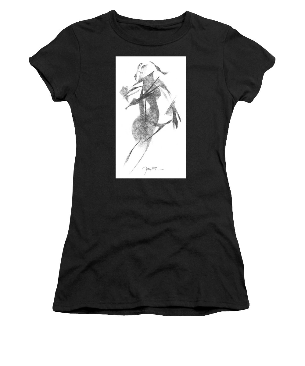 Pencil-art Women's T-Shirt (Athletic Fit) featuring the drawing Girl, In Abstract by Rick Yost