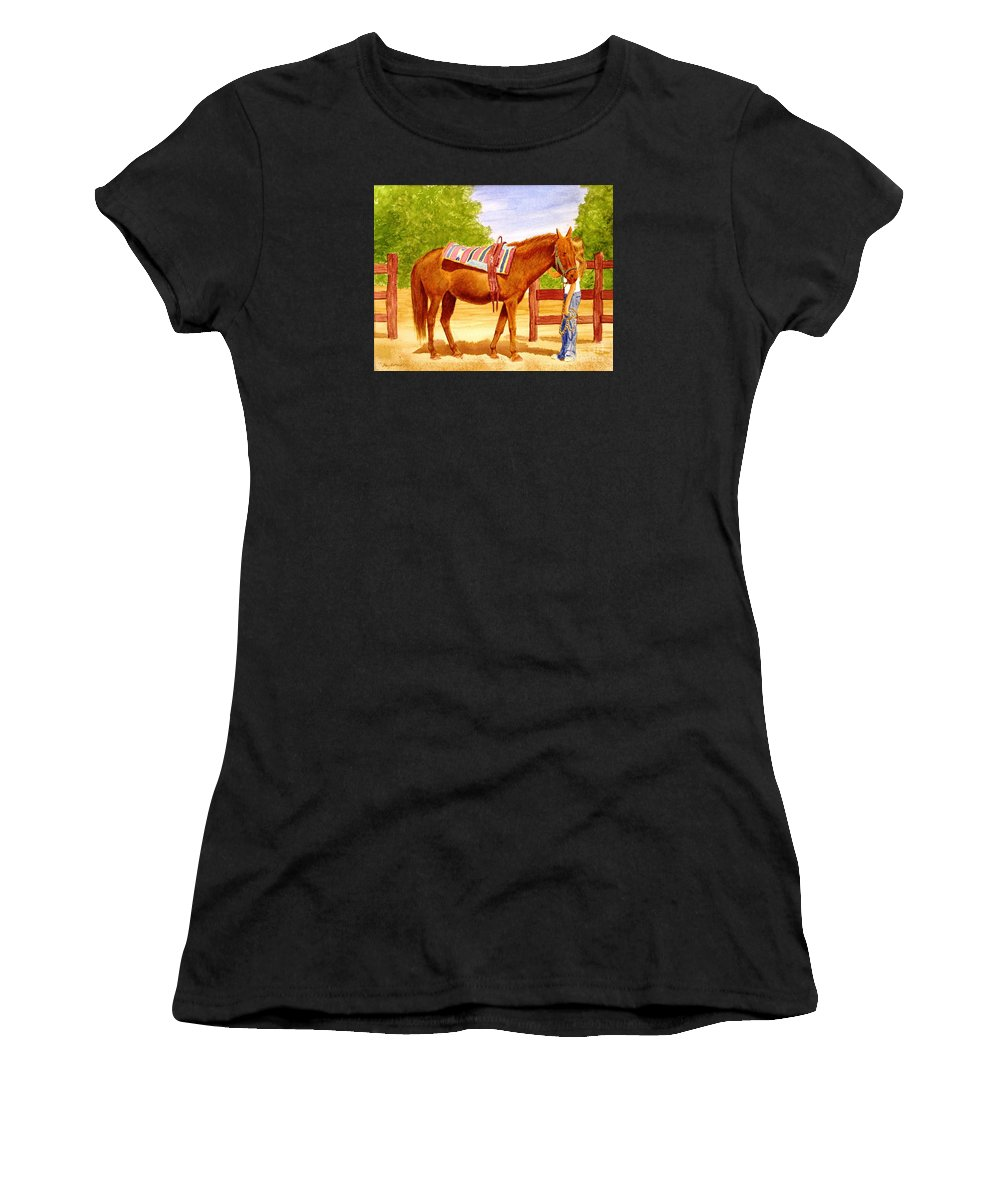 Equine Women's T-Shirt featuring the painting Girl talk by Stacy C Bottoms