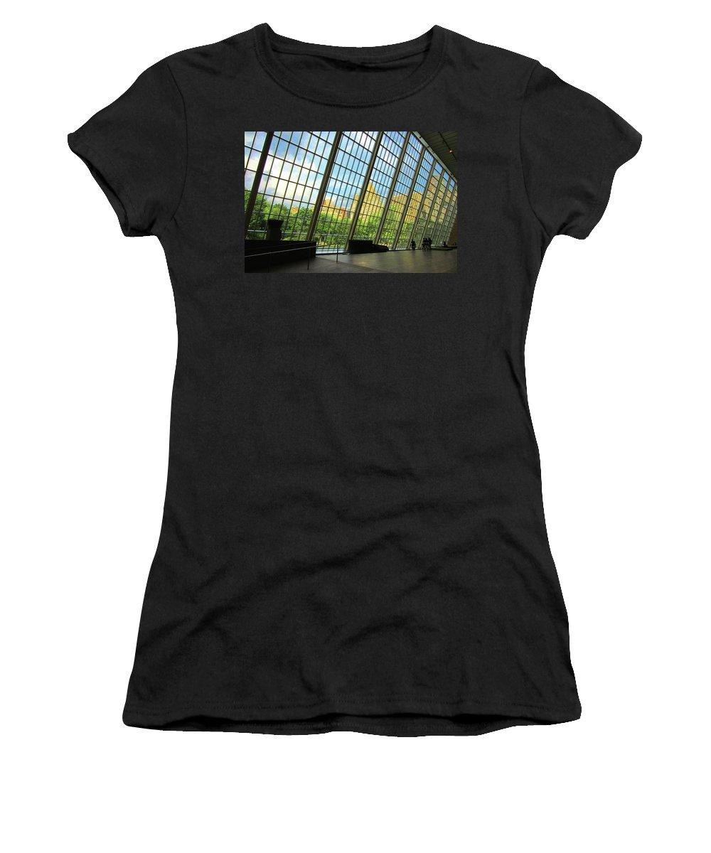 Glass Atrium Women's T-Shirt (Athletic Fit) featuring the photograph Glass Atrium Architecture by Patrick Malon