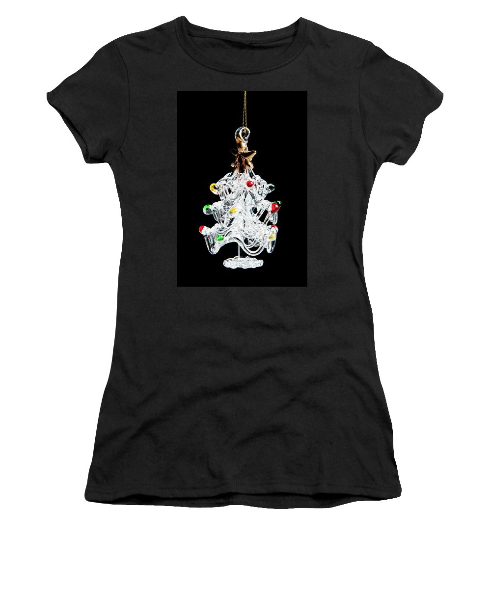 Helen Northcott Women's T-Shirt (Athletic Fit) featuring the photograph Glass Tree Decoration by Helen Northcott