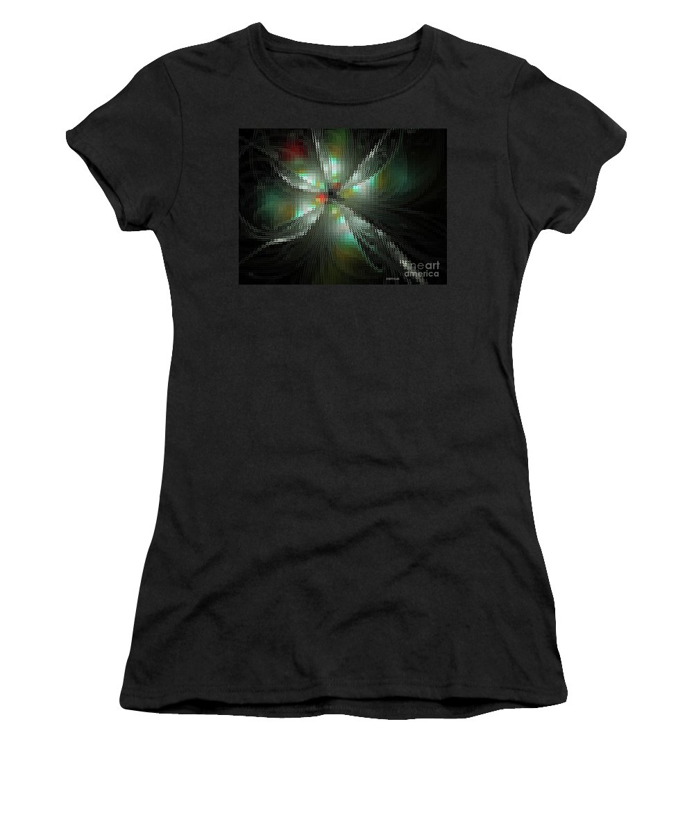 Fractal Women's T-Shirt featuring the digital art Glassworks Fractal by Deborah Benoit