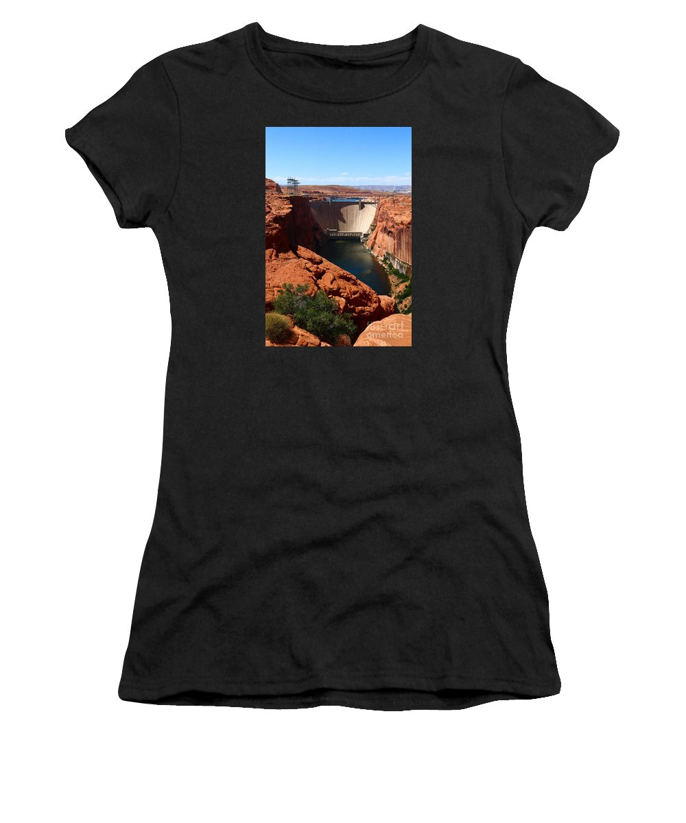 Dam Women's T-Shirt (Athletic Fit) featuring the photograph Glen Canyon Dam - Arizona by Christiane Schulze Art And Photography