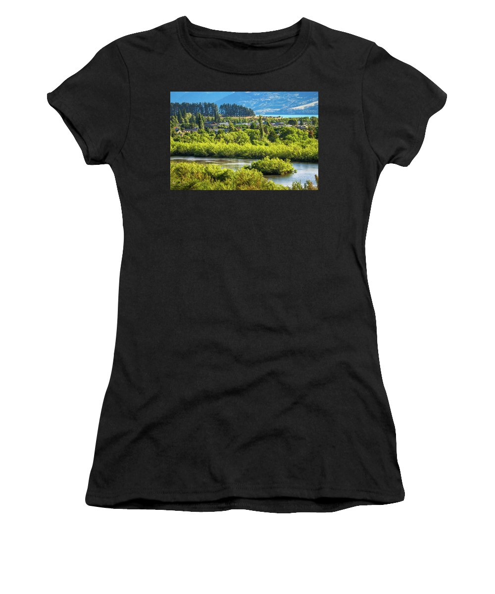 Colorful Women's T-Shirt featuring the photograph Glenorchy Lagoon At Golden Hour, New Zealand by Daniela Constantinescu