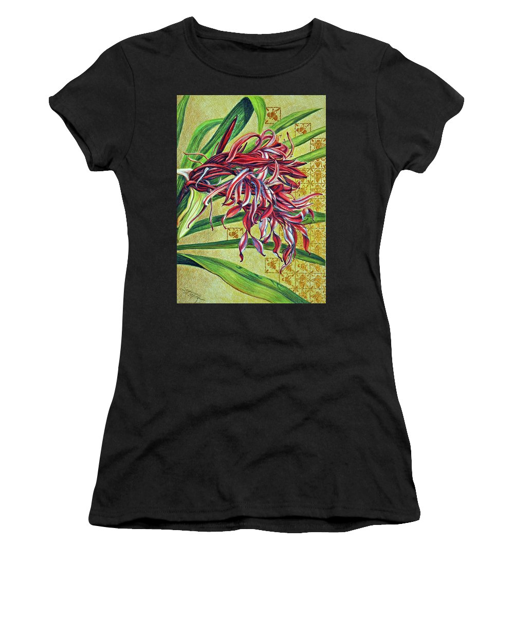 Mixed Media Women's T-Shirt (Athletic Fit) featuring the drawing Glorious Crinum by Suzanne McKee