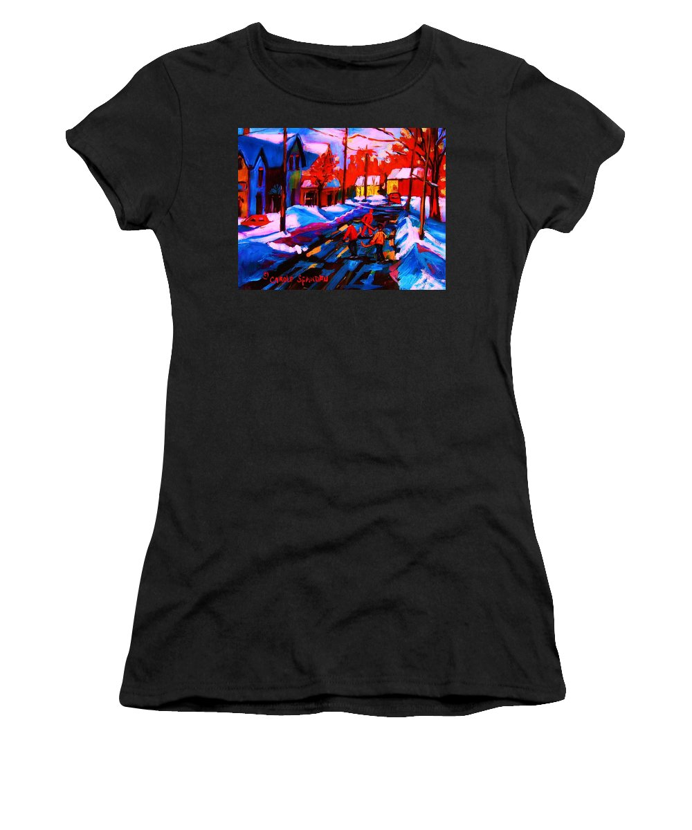 Streethockey Women's T-Shirt (Athletic Fit) featuring the painting Glorious Day For A Game by Carole Spandau