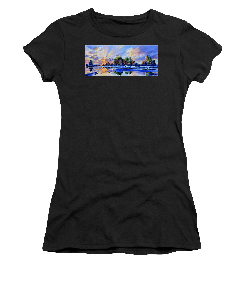 Point Of The Arches Women's T-Shirt featuring the painting Glorious Point Of The Arches by Hanne Lore Koehler