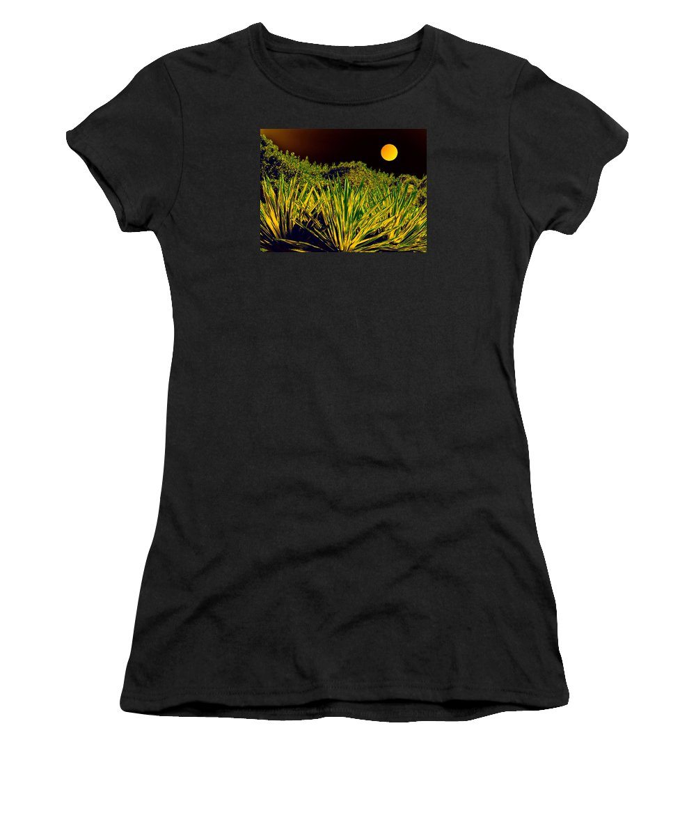 Moon Women's T-Shirt (Athletic Fit) featuring the digital art Glow Of Night by Bliss Of Art