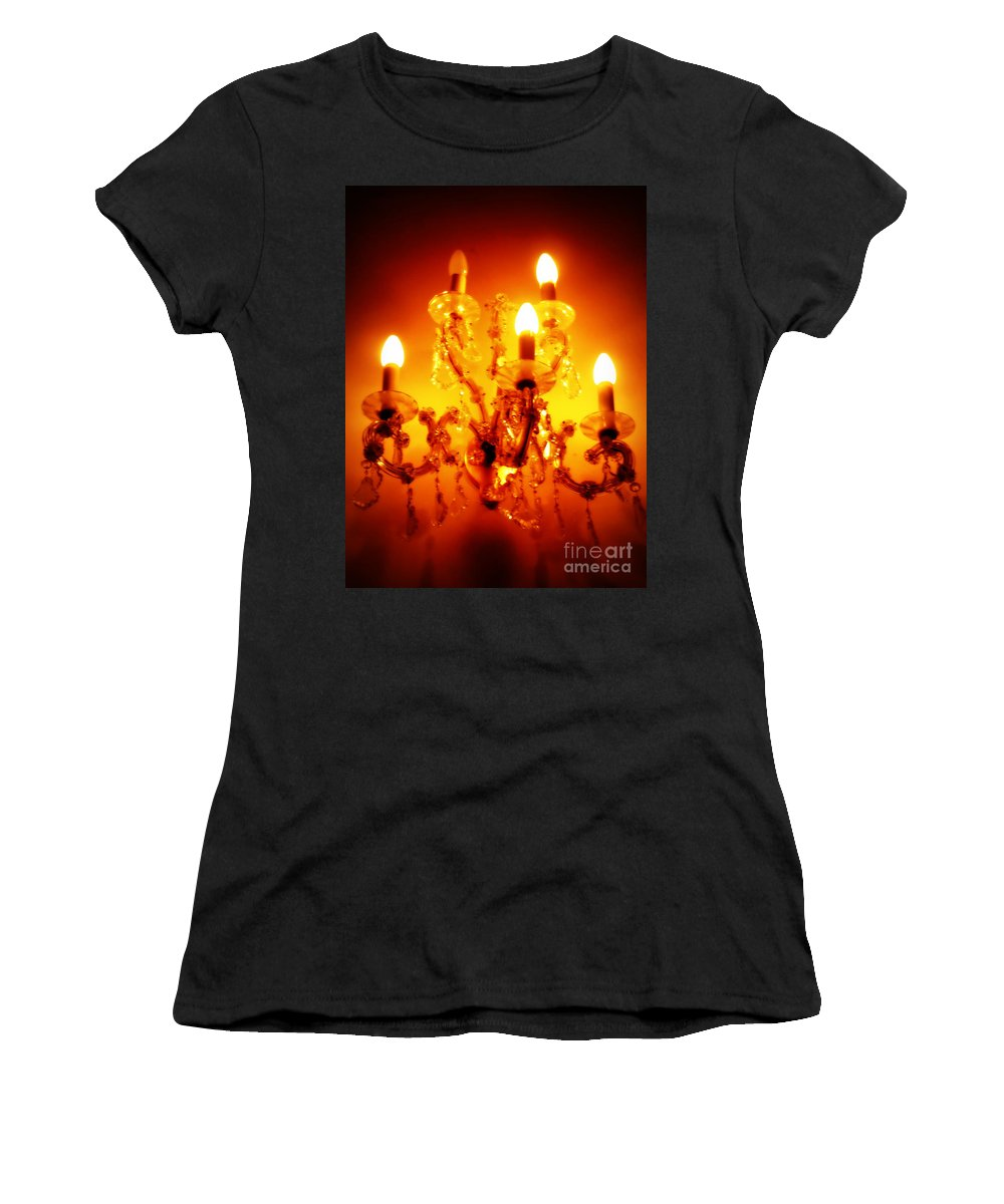 Chandelier Women's T-Shirt (Athletic Fit) featuring the photograph Glowing Chandelier by Carol Groenen