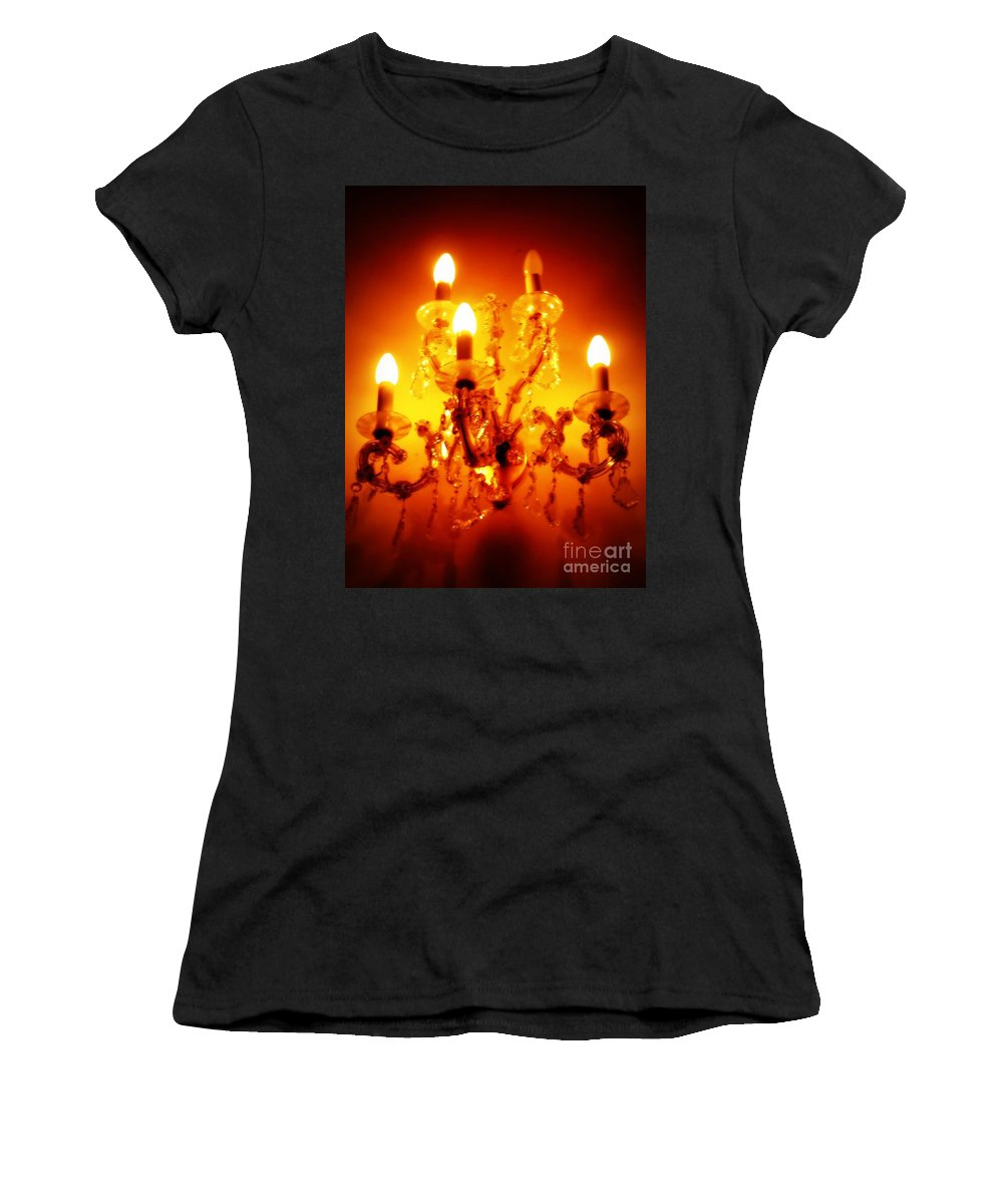 Dining Room Decor Women's T-Shirt (Athletic Fit) featuring the photograph Glowing Chandelier--companion Piece by Carol Groenen
