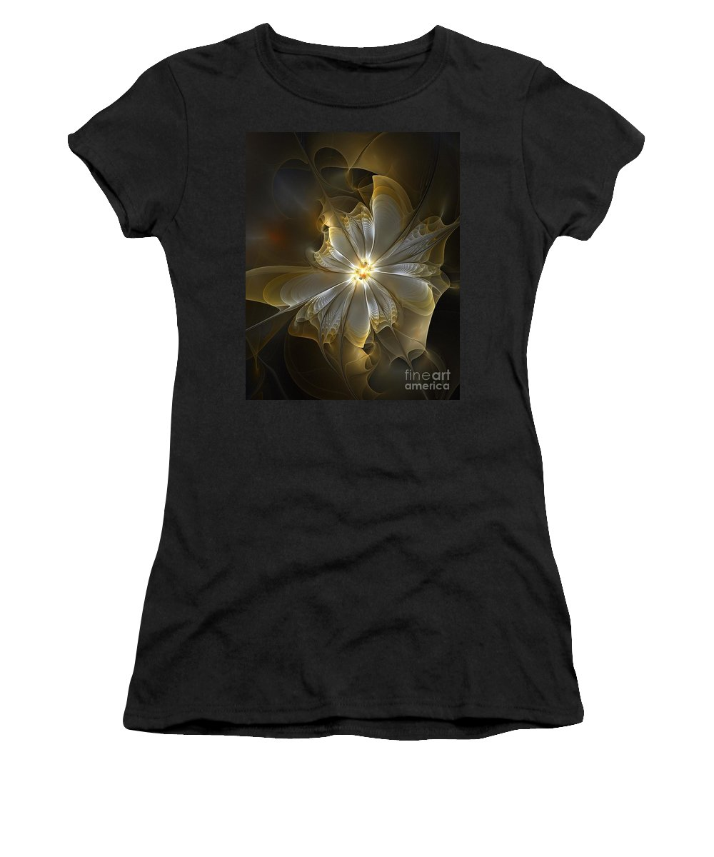 Digital Art Women's T-Shirt (Athletic Fit) featuring the digital art Glowing In Silver And Gold by Amanda Moore