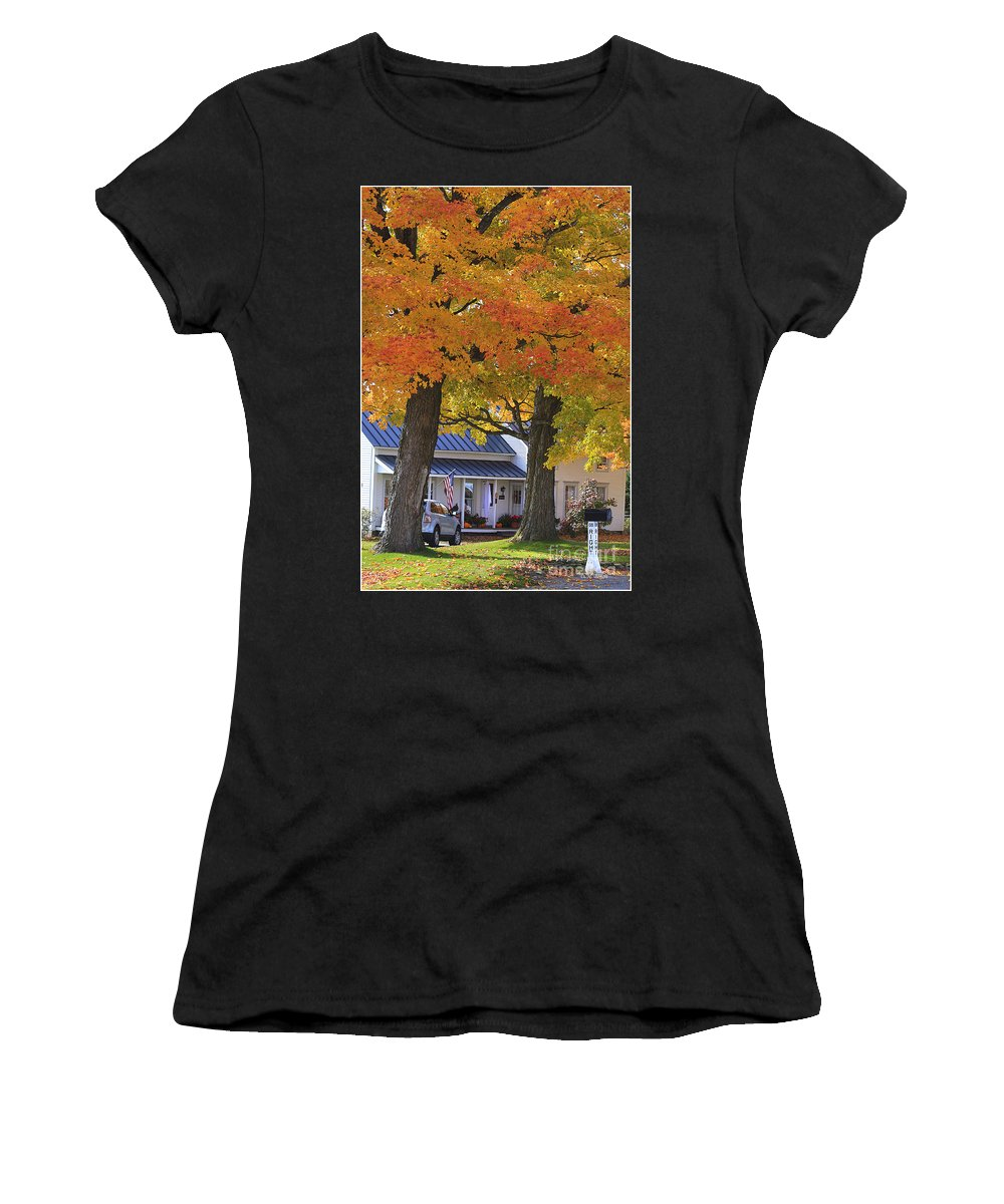 Fall Women's T-Shirt (Athletic Fit) featuring the photograph Go Right Please by Deborah Benoit