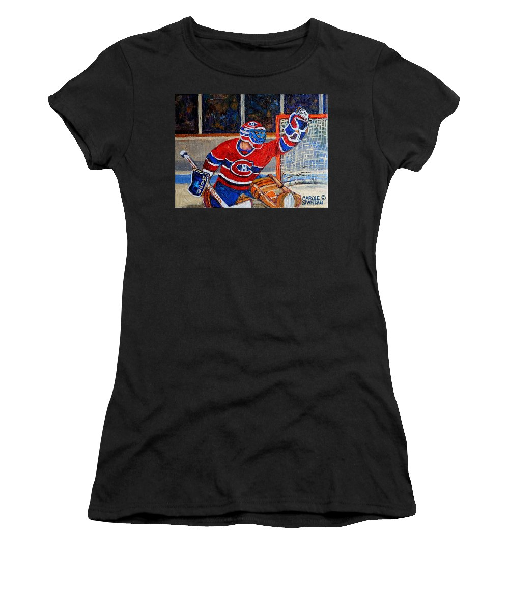 Hockey Women's T-Shirt (Athletic Fit) featuring the painting Goalie Makes The Save Stanley Cup Playoffs by Carole Spandau