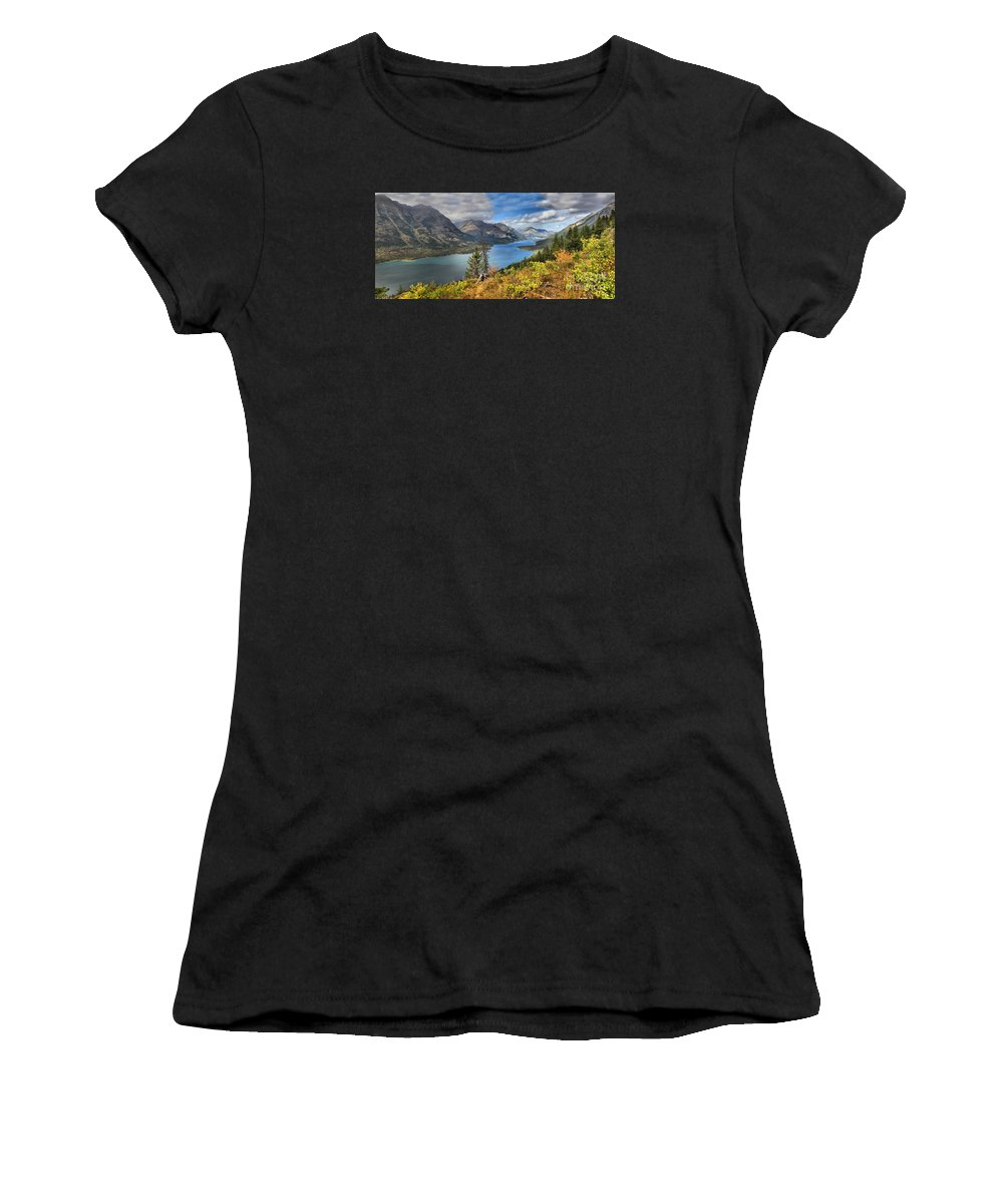 Goat Haunt Panorama Women's T-Shirt (Athletic Fit) featuring the photograph Goat Haunt Panorama by Adam Jewell