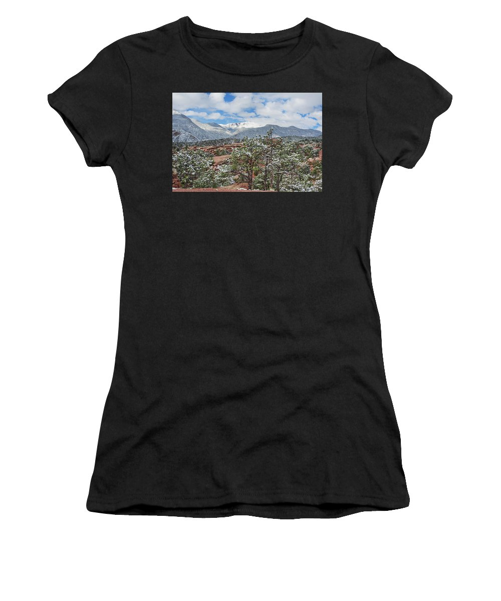 Garden Of The Gods Women's T-Shirt featuring the photograph God Boreas Chilling The Air With His Icy Breath by Bijan Pirnia