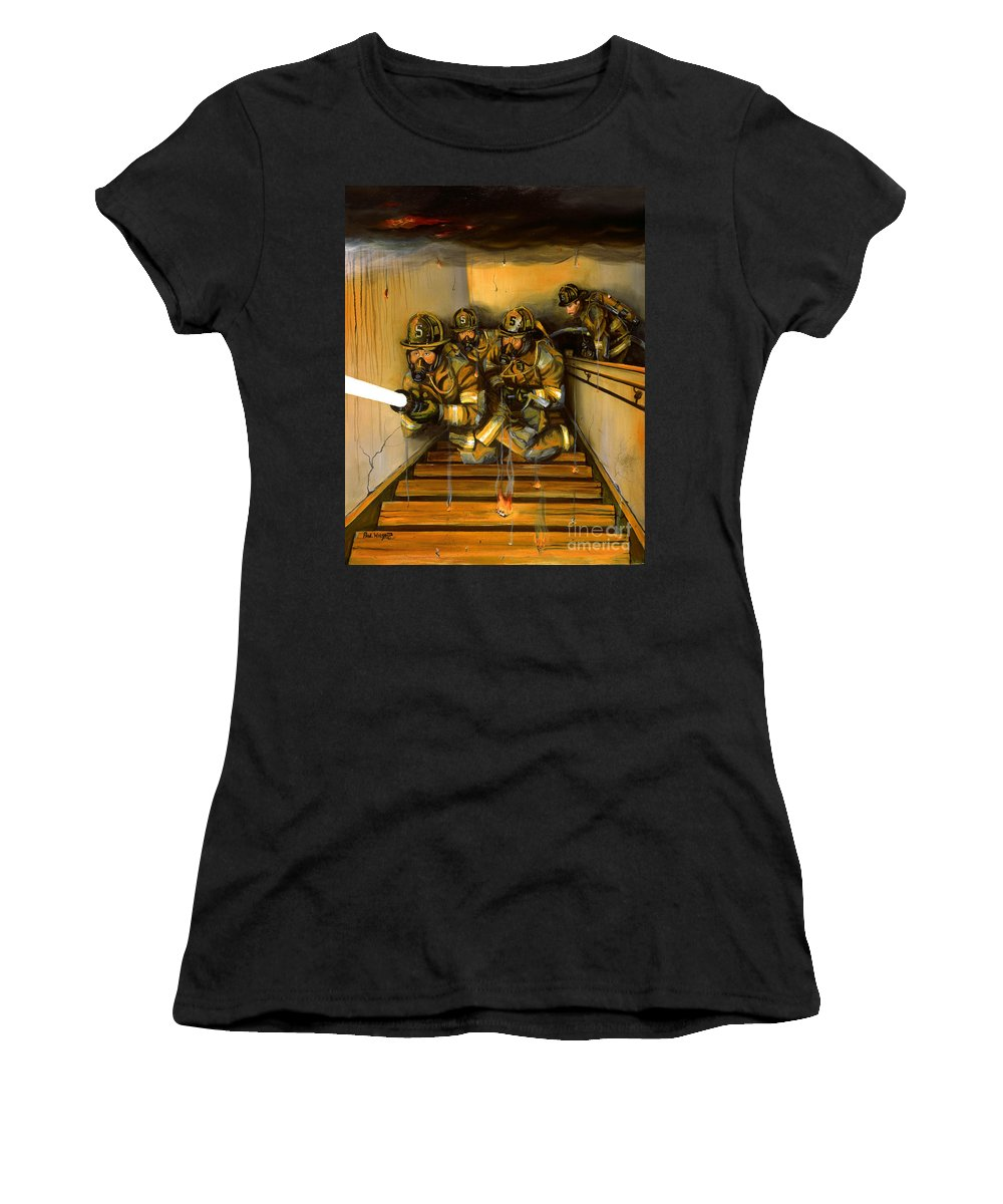 Fire Fighting Women's T-Shirt (Athletic Fit) featuring the painting Goin' To Work by Paul Walsh
