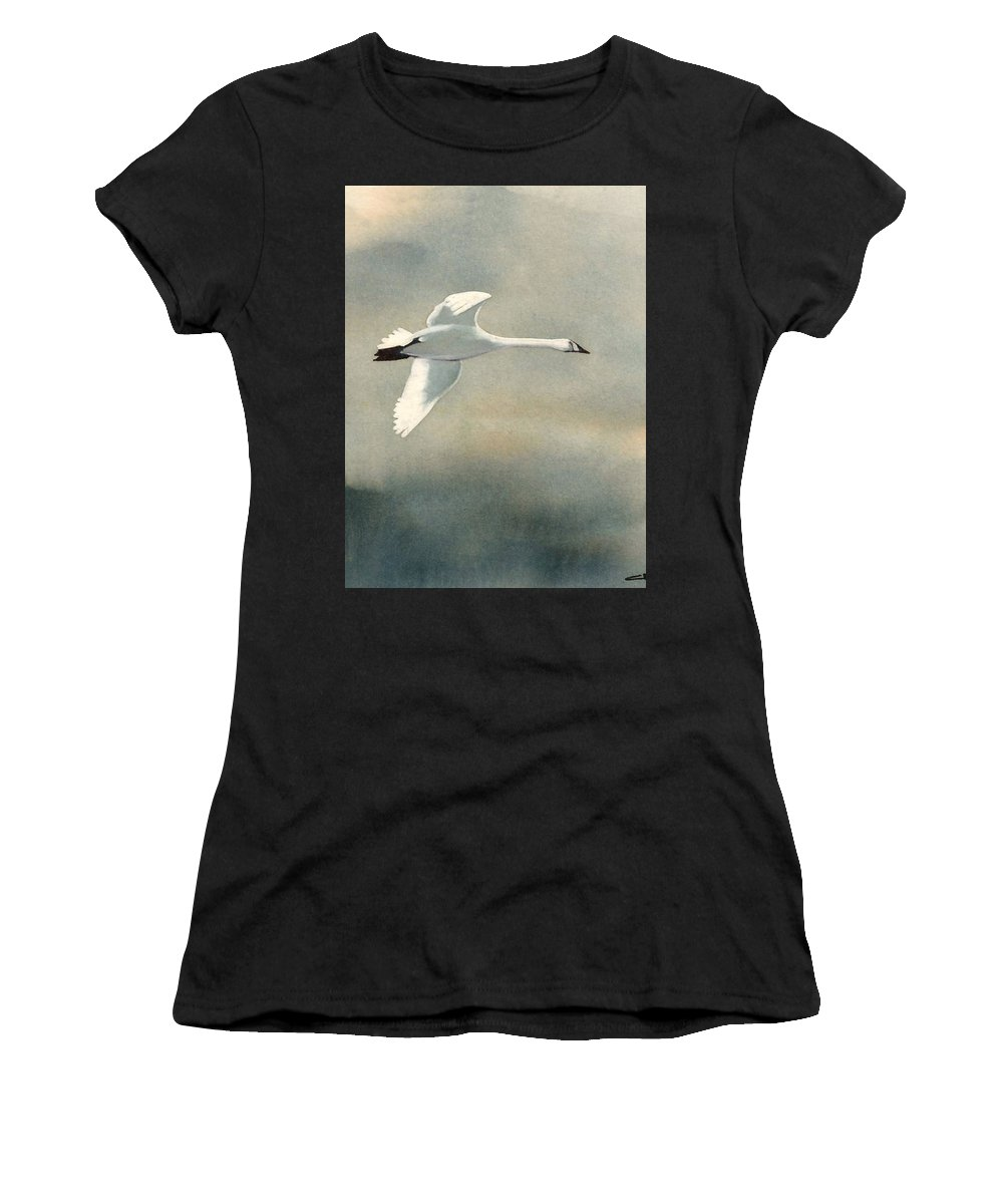 Animals Women's T-Shirt (Athletic Fit) featuring the painting Going Home by Chatri Ahpornsiri