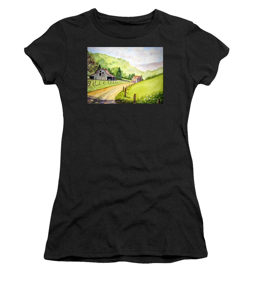 Barns Women's T-Shirt featuring the painting Going Home by Julia RIETZ