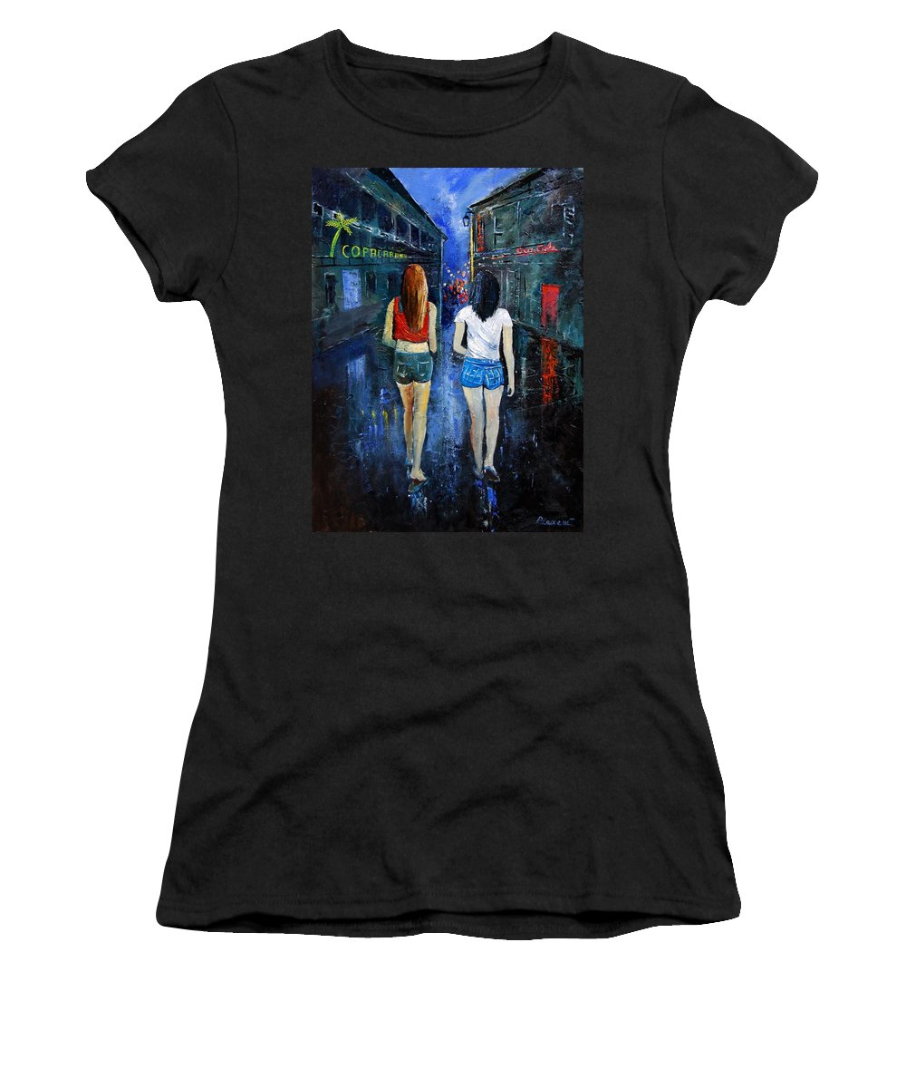 Girl Women's T-Shirt (Athletic Fit) featuring the painting Going Out Tonight by Pol Ledent