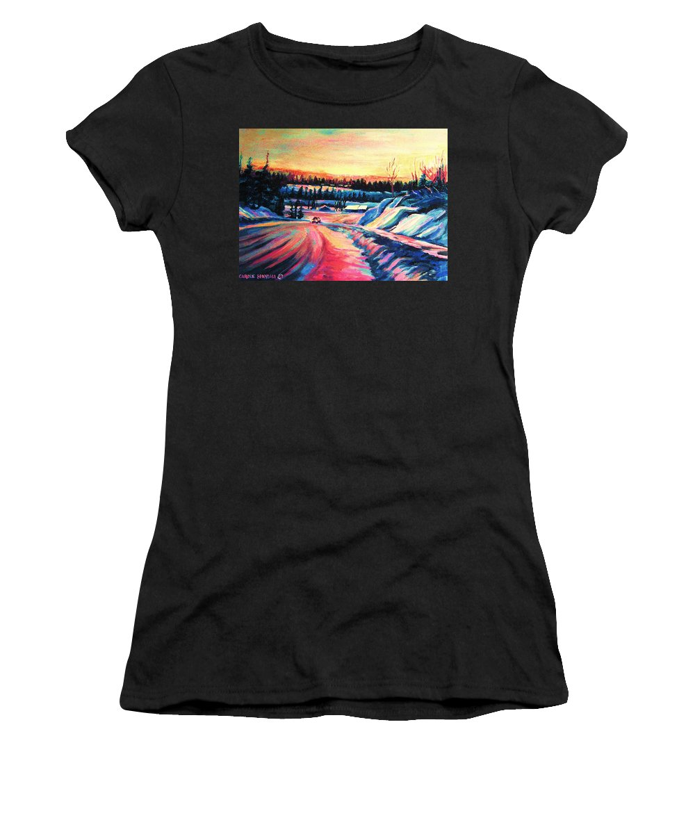 Winterscene Women's T-Shirt (Athletic Fit) featuring the painting Going Places by Carole Spandau