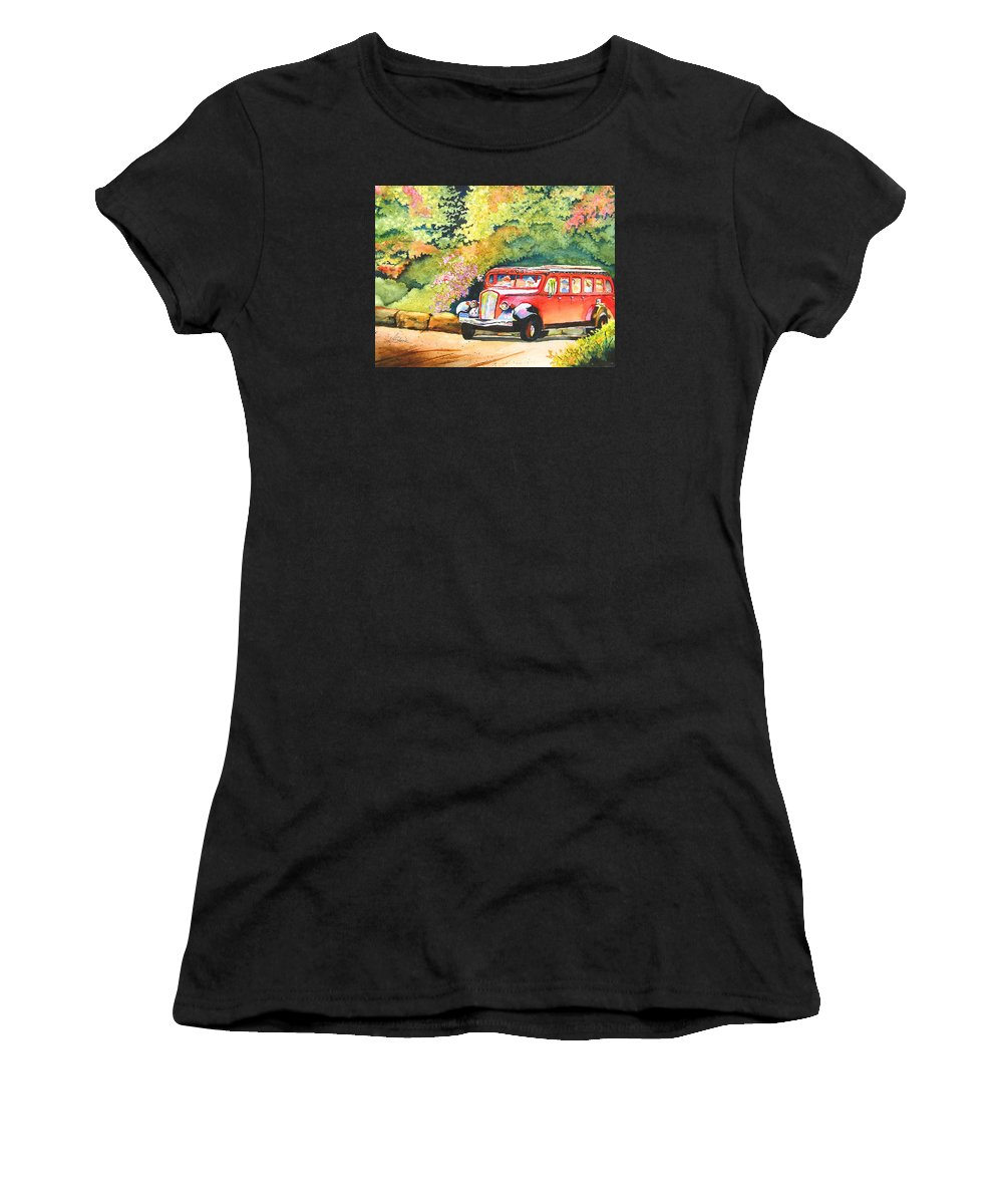 Landscape Women's T-Shirt (Athletic Fit) featuring the painting Going To The Sun by Karen Stark